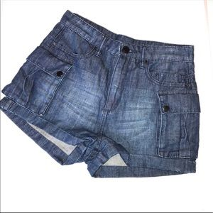 Blank NYC Blue High Rise Cargo Chambray Shorts 27